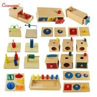 Сенсорные Монтессори комплекты Развивающие игрушки для детей малышей коробка для платы Пазлы преподавания дерево игры и игрушки дошкольни