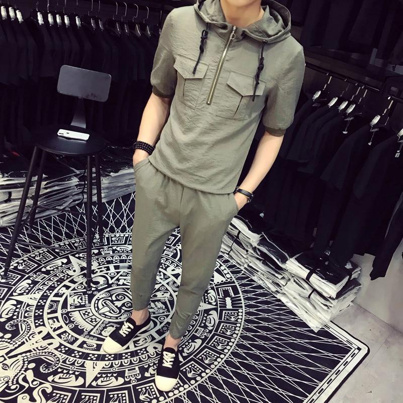 DEKUSI Short Sleeve Pocket decoration hoodie sets men Summer Wear New Pattern Pure color long pants tracksuit suit ...