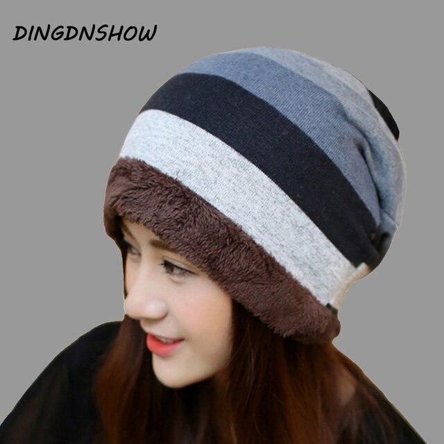 DINGDNSHOW  Brand Beanies Hat Adult Cotton Winter Cap Women 2018 Knitted  Hat Warm Skullies Stripe Ladies 4fd619abdee