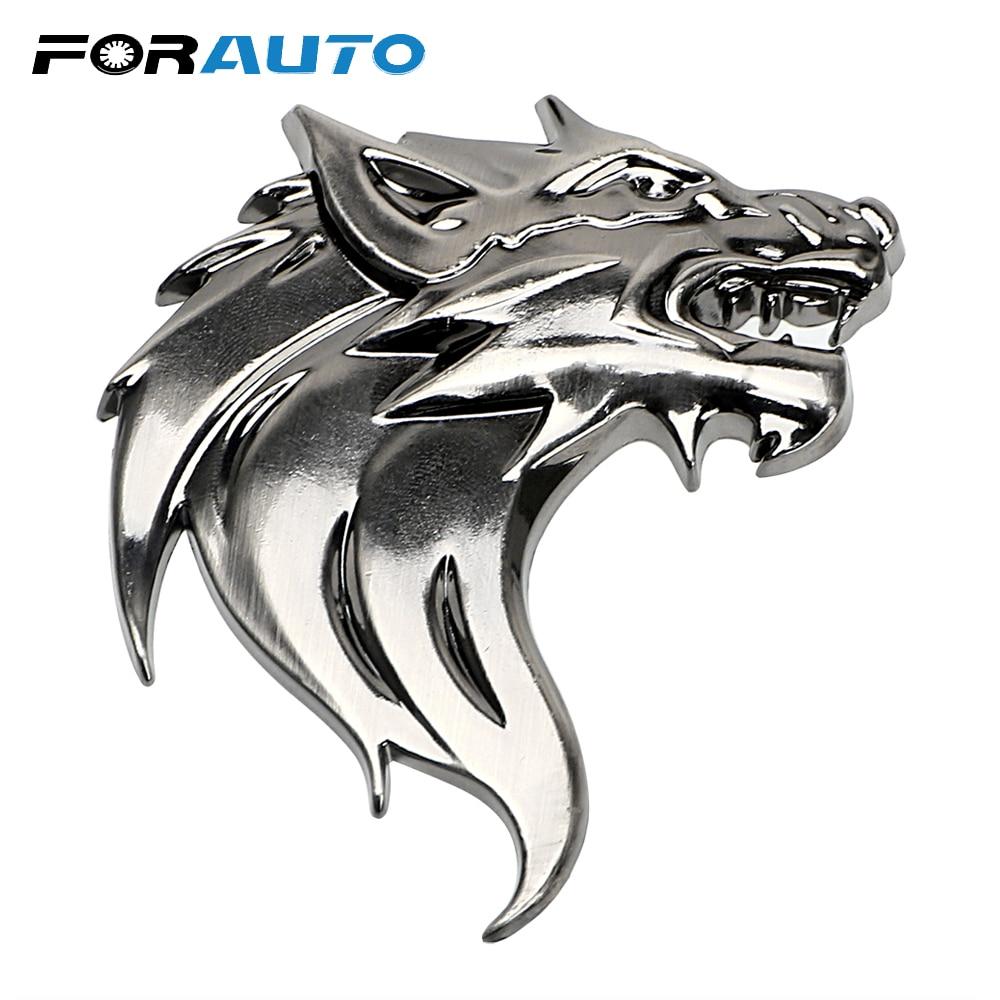 Silver DSYCAR 2Pcs//Pair 3D Metal Wolf Head Auto Motorcycle Car Sticker Logo Emblem Decoration Car styling for Universal Cars Motorcycle Car Styling Decorative Accessories