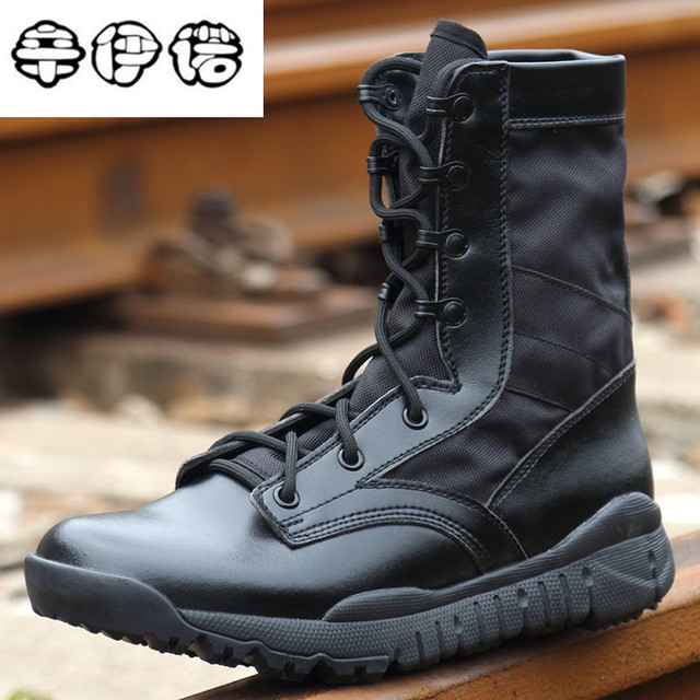 c9891f5192f Moda marca hombres Militar combate Botas desierto de cuero trabajo  Seguridad Zapatos táctico Botines del Ejército