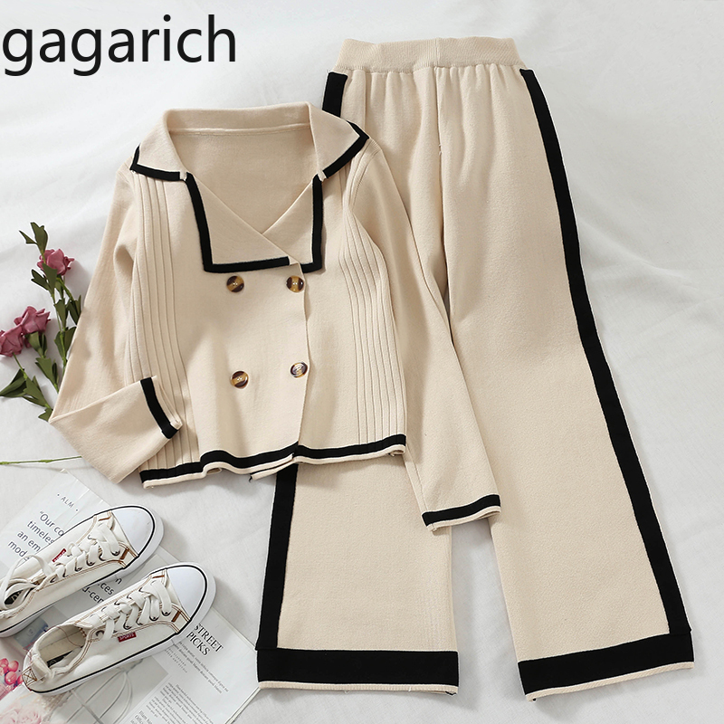 Gagarich Women Two Piece Set 2019 Korean New Double-breasted Short Knitted Cardigans Wide Legs Loose Casual Pants Female Suit