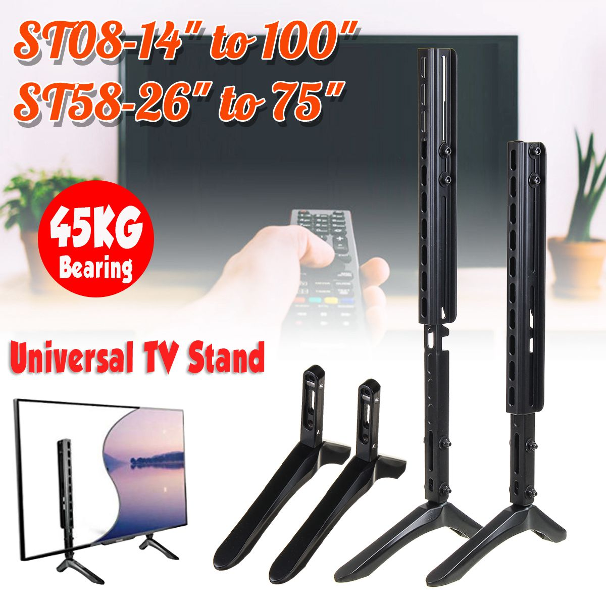 14-100 inch Universal Table TV Stand Base LCD Flat Screen Table Top Pedestal Mount Load Up to 45KG Iron Easy Installaation14-100 inch Universal Table TV Stand Base LCD Flat Screen Table Top Pedestal Mount Load Up to 45KG Iron Easy Installaation
