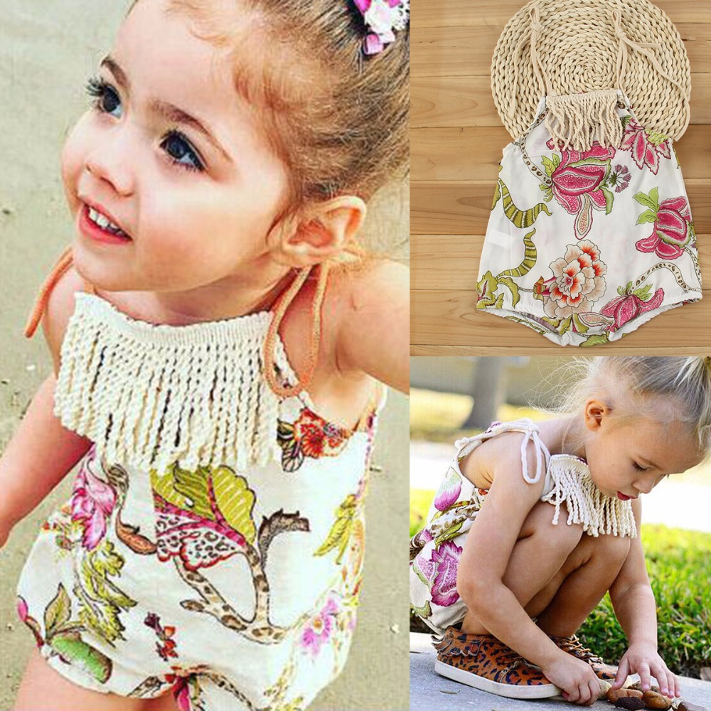 2017 Summer Newborn Infant Baby sleeveless Floral Tassel Romper Baby Boys Girls Clothes Romper Jumpsuit Outfit Set 0-24M 2017 summer newborn infant baby girls clothing set crown pattern romper bodysuit printed pants outfit 2pcs
