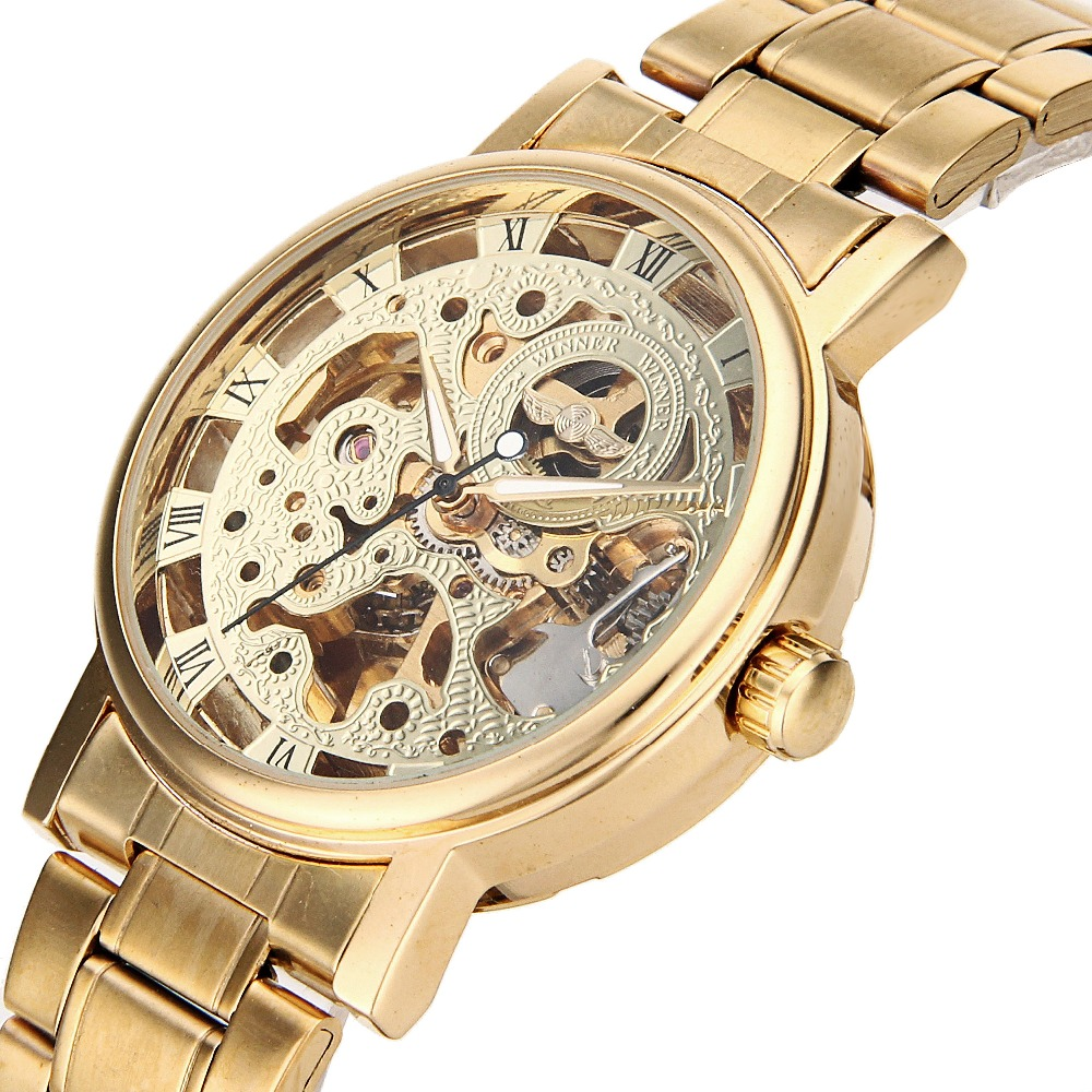 Golden Mens Skeleton WristWatch Stainless Steel Band font b Steampunk b font Casual Automatic Skeleton Mechanical