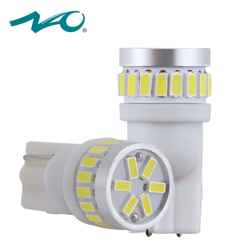 NAO 2x t10 led automobiles w5w led auto 12v motorcycle clearance light car led t10 w5w car interior light 168 194 lamp w5w white t10 3528 3w white light 21 led car signal light bulbs 2 pack dc 12v