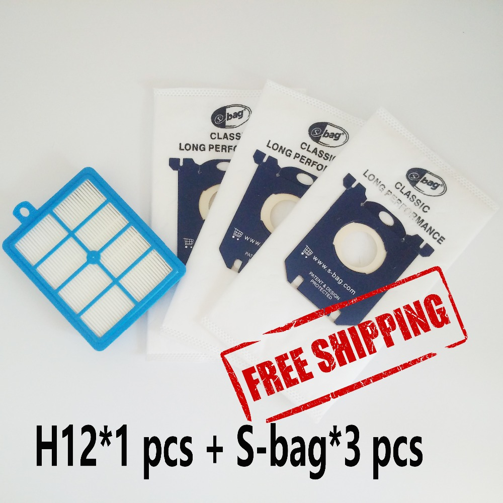 1pcs Replacement hepa filter h12 & 3 pcs Dust Bags for Electrolux Vacuum Cleaner filter electrolux hepa and S-BAG electrolux es 53 4 bags 1mf