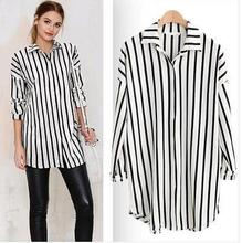 4c136b11c249a 5XL Plus Size Women Sweet White Gray Black Striped Loose Shirts Long Sleeve  Turn Down Collar