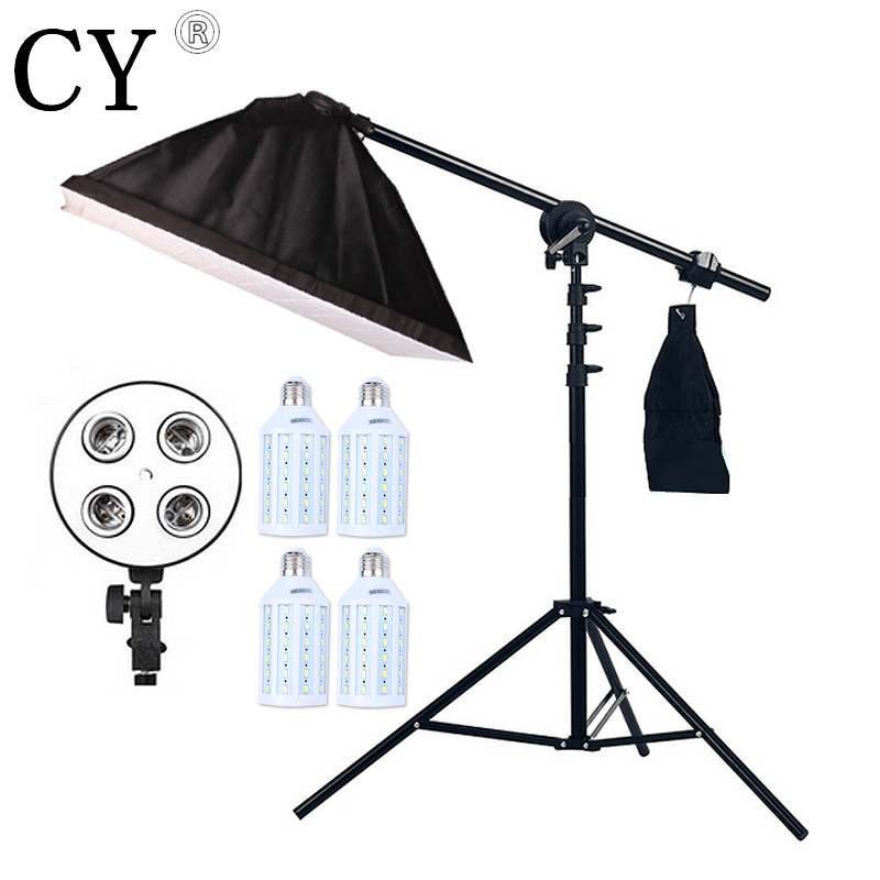 Inno 4pcs 20W LED Light Photo Studio Video Lighting Kit Light Stand*SoftBox With 4 * E27 lamp holder*Boom Arm 75-135cm Hairlight free shipping u type bracket for 350lbs 180kg electric magnetic lock em lock frameless glass for door access control system