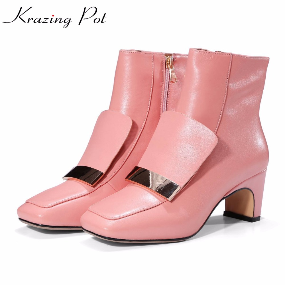 Krazing pot cow leather square toe zipper high heels fashion metal fasteners boots winter keep warm pink color ankle boots L25 radiator grille protective cover grill guard protector for suzuki hayabusa gsx1300r gsxr1300 2008 2009 2010 2011 2012 2013 2016