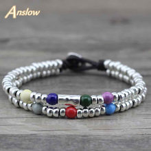 Anslow 2017 New Arrivals Items Beads With Beads Kids Children Leather Bracelets For Women Men Girls LOW0387LB(China)