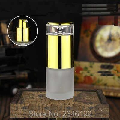 20 ML Cam Losyon pompa şişesi Buzlu Cam Şeffaf Cam Boş ambalaj şişesi Altın Kap Gümüş Kap, 20 adet/grup
