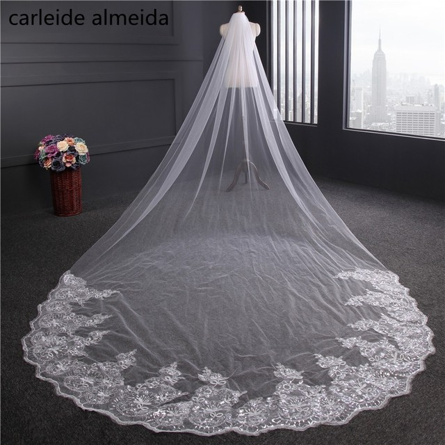 311b60bf2b 4M length Wedding Veil with Comb Lace Appliques Veu de Noiva Velo Luxury  Schleier One Layer Swiss Tulle Detalles Boda
