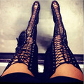 Sexy Black High Heels Gladiator Shoes Woman Peep Toe Lace Up Thigh High Boots Summer Cut Outs Feminina Bota Over The Knee Sandal