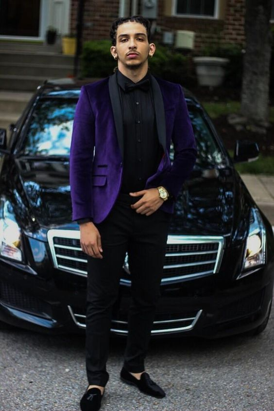 2017 Latest Coat Pant Designs Purple Velvet Men Prom Suit Slim Fit 2 Piece Tuxedo Custom Groom Suits Fashion Blazer Masculino D7