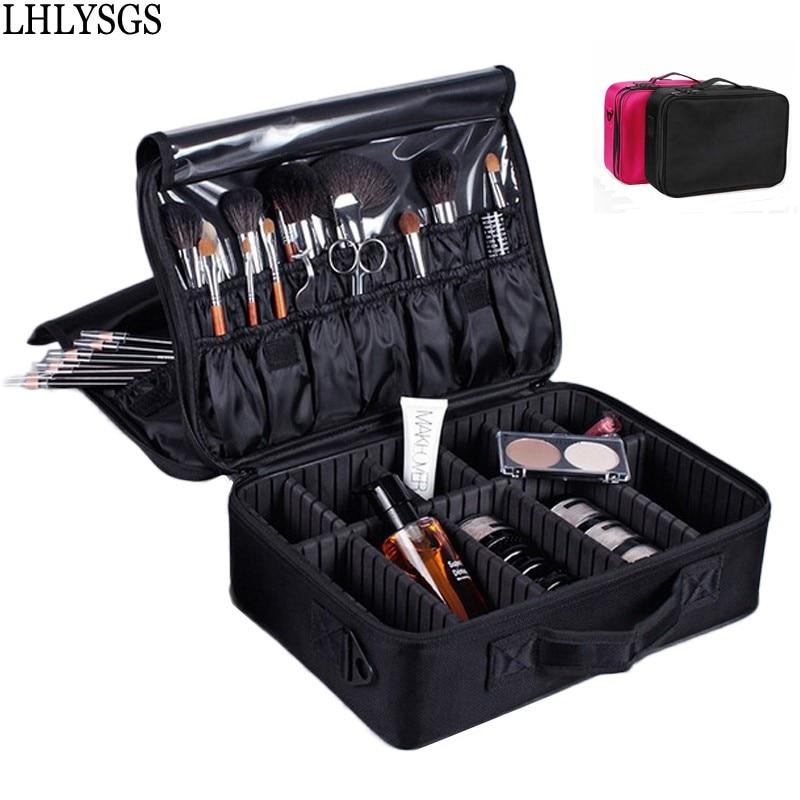 LHLYSGS Brand Three Layers Small Multilayer Professional Makeup Bag Women Travel Organizer Tattoo Nail Art Tool