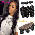 7A Brazilian Loose Wave With Frontal Closure Brazilian Hair Weave Bundles With Closure 3 Bundles With Frontal Closure Loose Wave