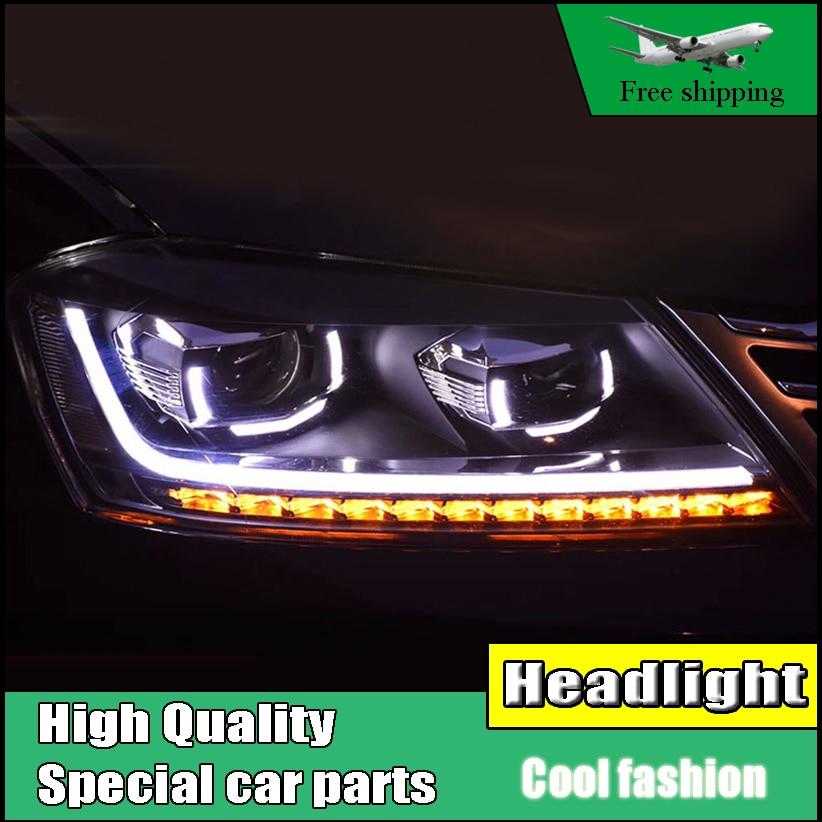 Car Styling Head Lamp For VW Passat B7 Europe Version headlights 2012-2015 LED DRL Bi-Xenon Lens Flowing Turn Signal Headlight