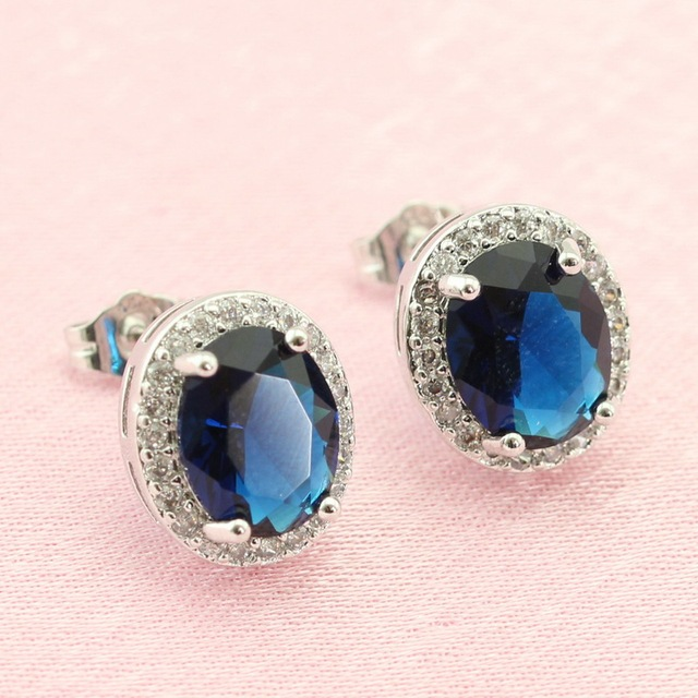 swarovski sterling blue dp nywtl crystal halo amazon earrings stud silver com