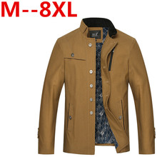 plus size 9XL 8XL 7XL 6XL 5XL 4XL 2016 New Arrival Men's Fashion Casual Spring Autumn Jacket Cotton Stand Collar Coat 4 Colors