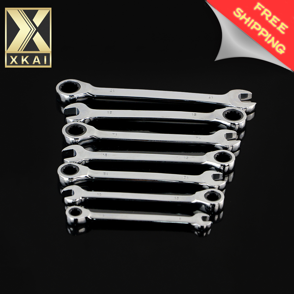 XKAI 8.10.12.13.14.15.17mm Mirror combination ratchet wrench Wrench ring gear Ratchet wrench handle chrome vanadium veconor 8 10 12 13 15 17 19mm ratchet spanner combination wrench a set of keys gear ring tool ratchet handle chrome vanadium
