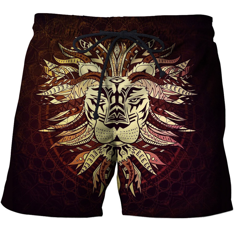 Anime Lion Printed Beach   Shorts   Men   Board     Shorts   3d   Shorts   Plage Brand Swimwear Quick Dry Pants Summer 8XL DropShip ZOOTOP BEAR
