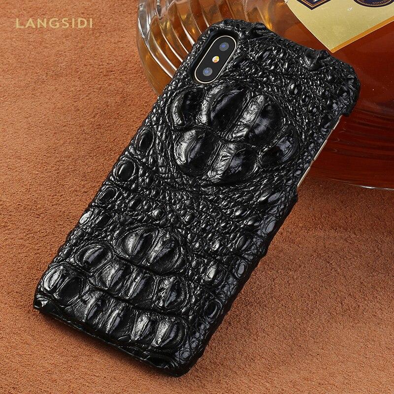 100% étui pour iphone XR X XS en cuir de Crocodile véritable pour iphone 7 8 6plus 6 S Coque de luxe Marvel coques de téléphone Funda