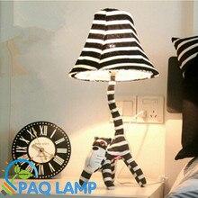 Мультфильм настольная лампа длинные лицо кошки мультфильм животных ткань в форме малыша спальня из светодиодов огни