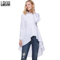 LAISIYI Fashion White Irregular Shirt Women 2018 Spring Autumn Swallowtail Blouse Tops Long Sleeve Blouses Slim