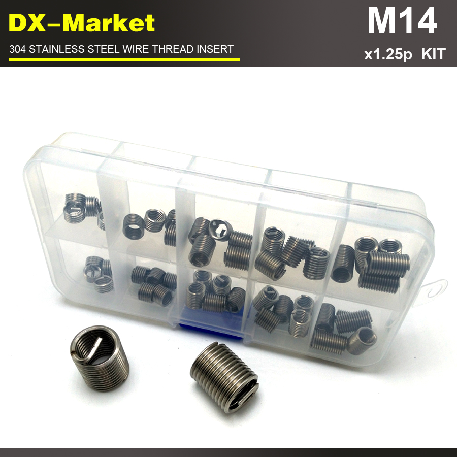 m14 *1.25P , 25pcs , 1d 1.5d 2d 2.5d 3d each 5pcs ss304 fine thread ineset kit ,304 stainless steel threaded sleeve kit цены