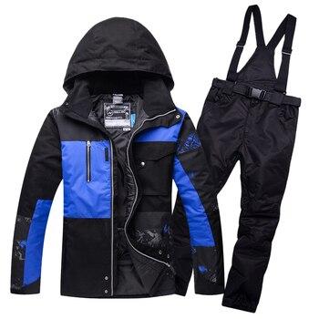 цена на Ski Suit Men Waterproof Thermal Snowboard Fleece Jacket + Pants Male Mountain skiing and snowboarding Winter Snow Clothes Set