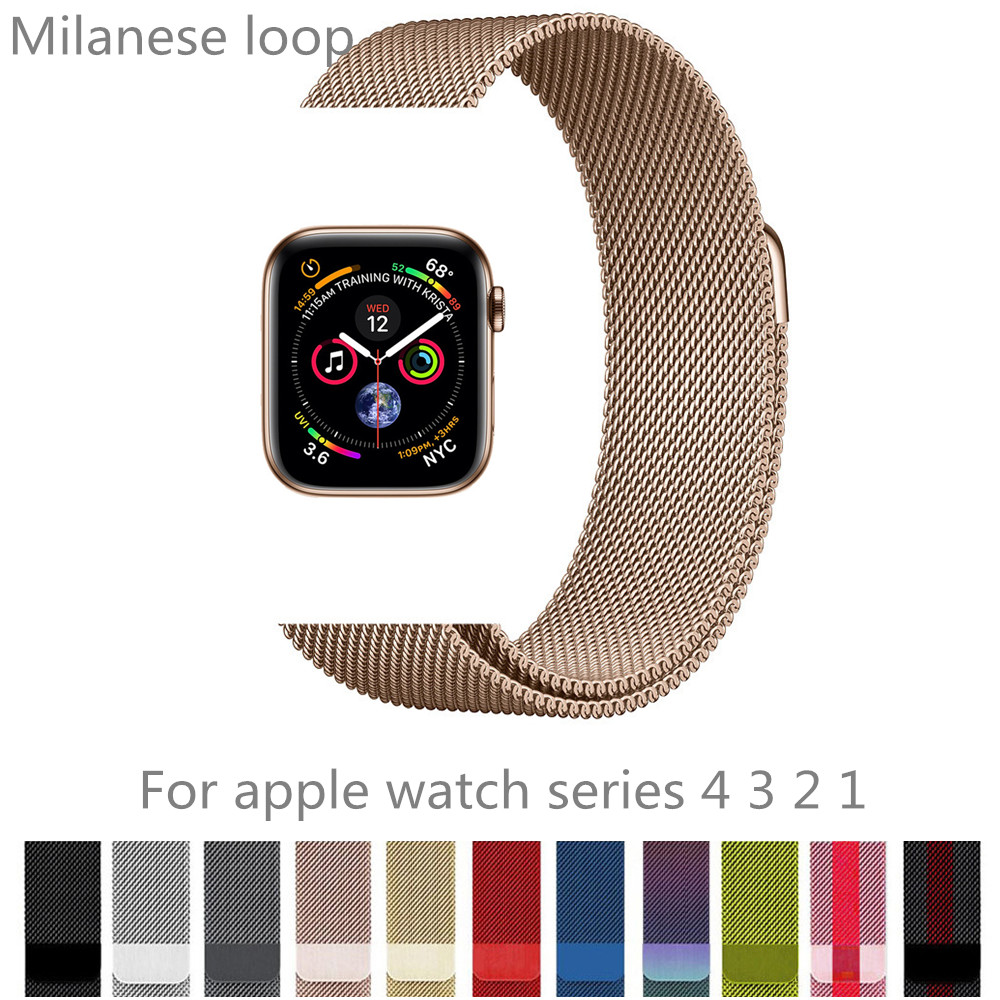 Stainless steel strap for apple watch band 40mm 44mm iwatch series 4 3 2 1 42mm 38mm milanese loop wrist bracelet accessories milanese loop band 1 1 for apple watch 42mm 38mm milanese magnetic bracelet stainless steel strap for iwatch band series 1 2 3 4