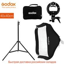 Godox 40x40 cm 15x15 inch Flash Speedlite Softbox + S type Bracket Bowens Mount Kit met 2 m Light Stand voor Camera Fotografie