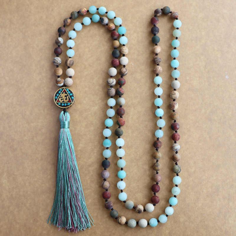 EDOTHALIA Matte Natürliche Stein 108 Perlen Halsketten Für Frauen Weibliche Zahler Regious Nepal Anhänger Lange Mala Halskette Schmuck