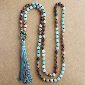 Image 3 - EDOTHALIA Matte Natural Stone 108 Beads Necklaces For Women Female Payer Regious Nepal Pendant Long Mala Necklace Jewelry
