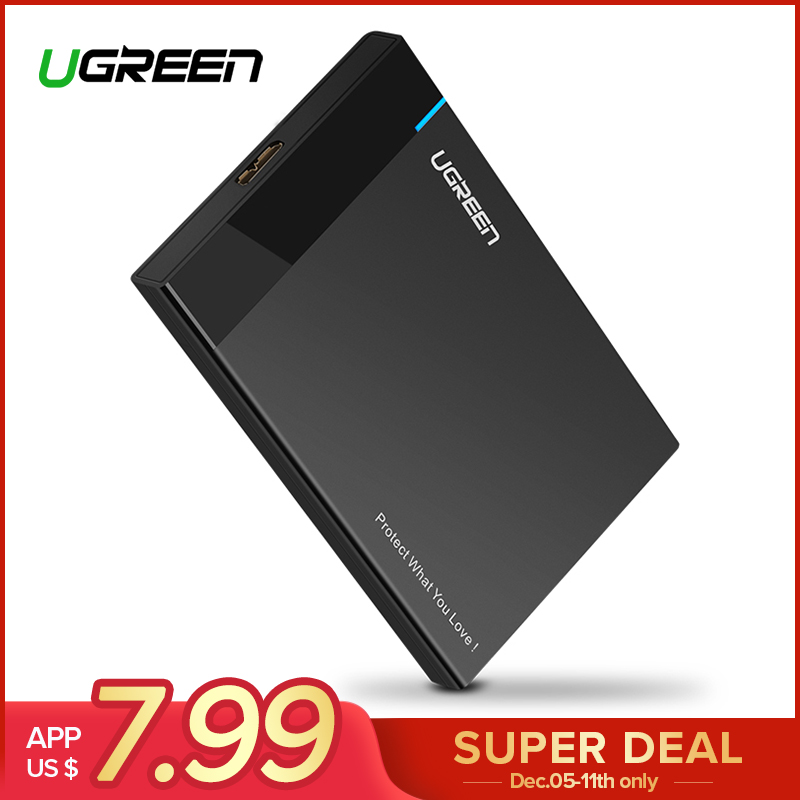 Ugreen caso HDD de 2,5 pulgadas SATA a USB 3,0 SSD adaptador para SSD de 1 TB 2 TB tipo C duro disco caja externa HDD
