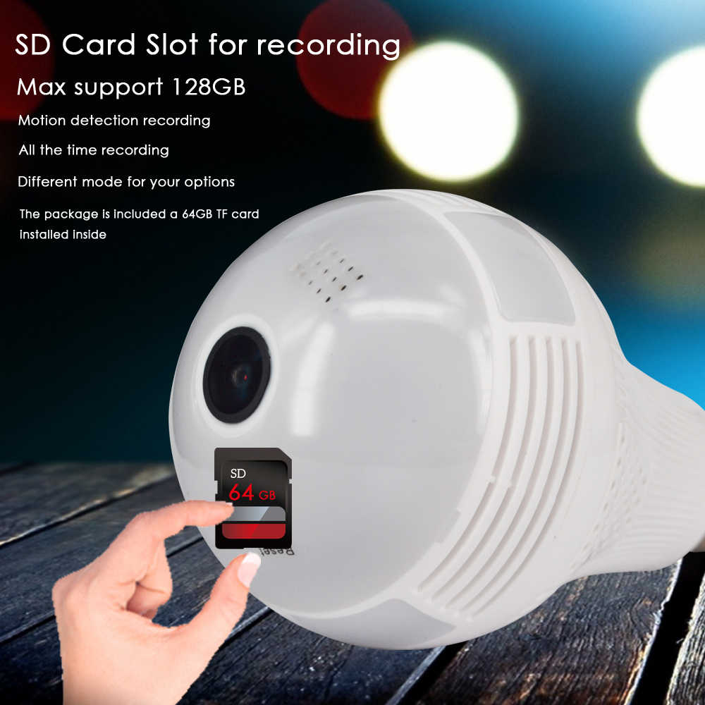 CTVMAN Led Light Bulb Camera with 64GB SD Card Wireless Mini 960 IP Cam Fisheye 360 Degree Panoramic P2P Wifi CCTV Baby Monitor