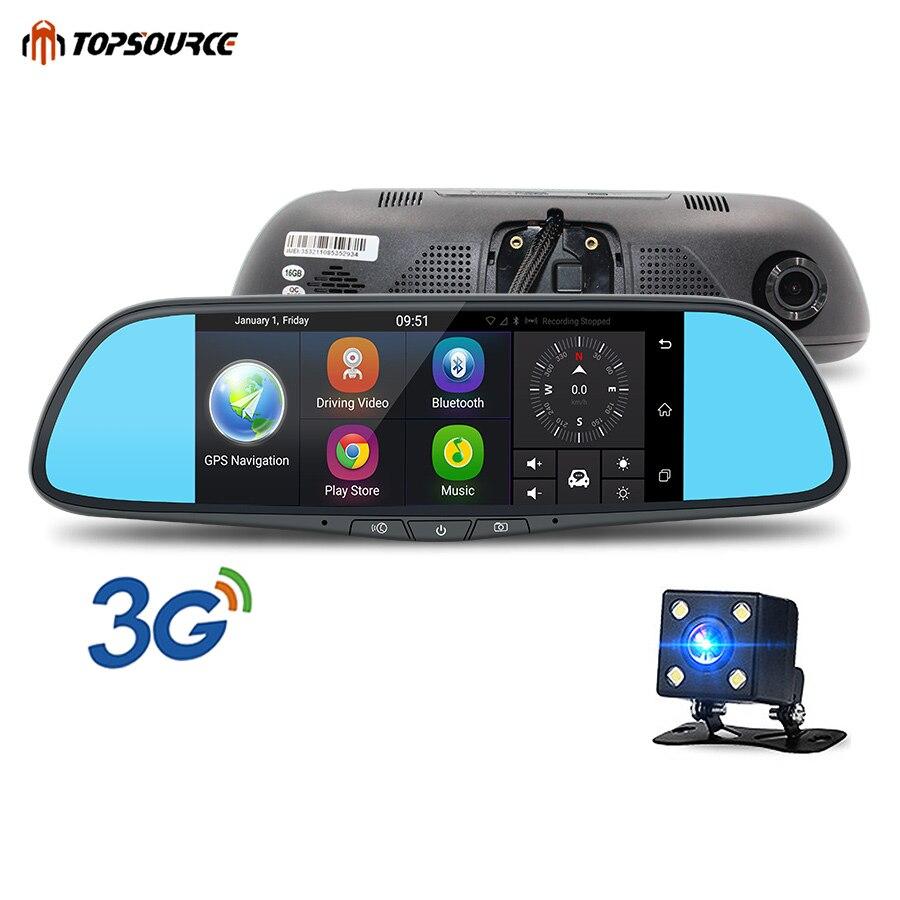 TOPSOURCE Автомобильный dvr 7 сенсорный 3g Автомобильный dvr камера зеркало gps Full HD 1080p Android 5,0 Bluetooth двойной объектив видео регистраторы