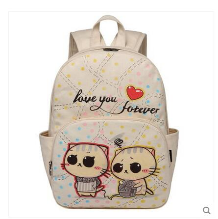 2017 new wild canvas bag shoulder bag personalized animation casual backpack student bag Korean version of the female package