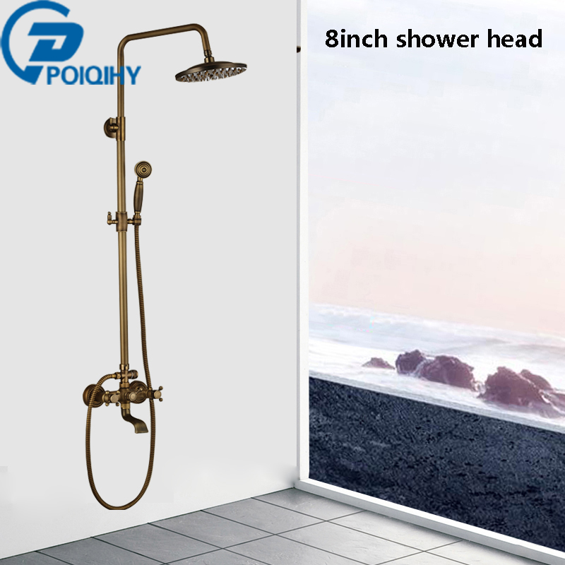POIQIHY Antique True Brass Bathroom Shower Faucet Dual Handles Mixer Tap Wall Mounted W/Handshower wall mounted dual handles antique brass finish bathroom shower faucet mixer tap
