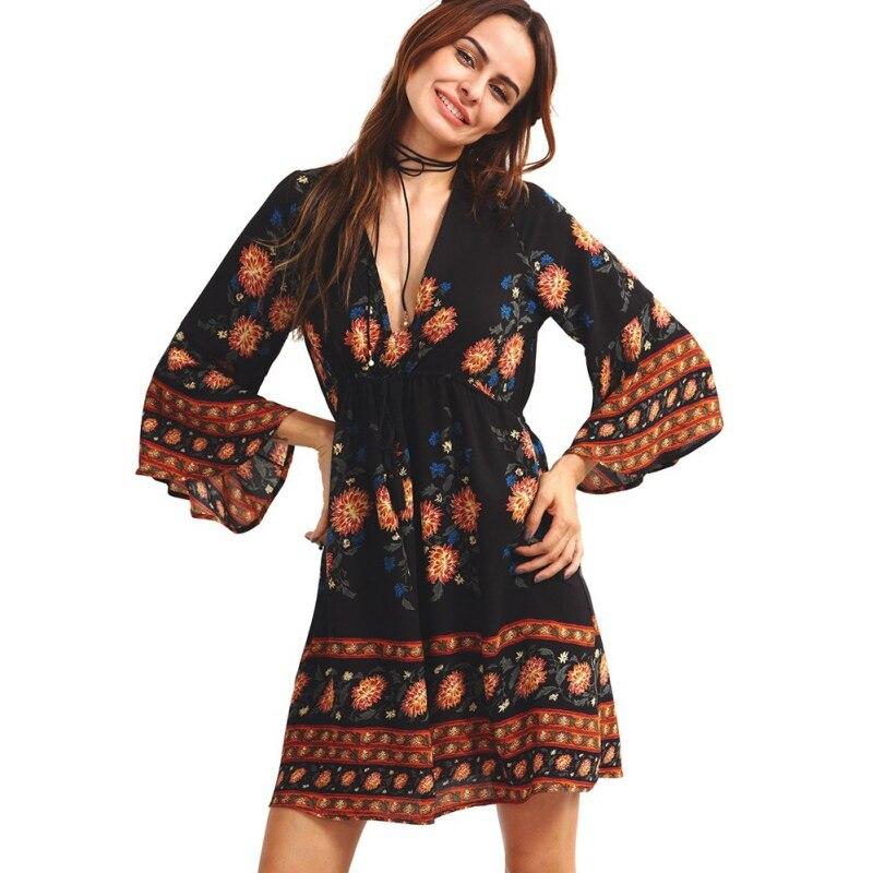 2018 в богемном стиле пляжное платье в стиле ретро с принтом Flare рукавом мини-платье Д ...