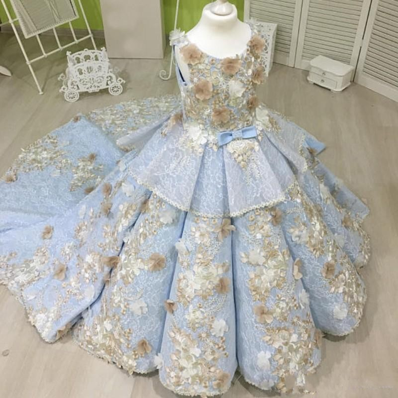 Ice Blue Princess Girls Pageant Dresses For Teens Lace Bow Peplum Appliques Lace Long Flower Girls Dresses For Weddings Kids