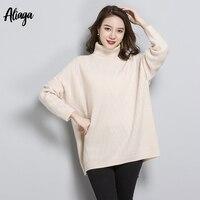 Свитера зима 2018 Для женщин 100% чистый кашемир свитер пуловеры плюс Размеры с длинным рукавом трикотажные свободные корейский Свитер с ворот