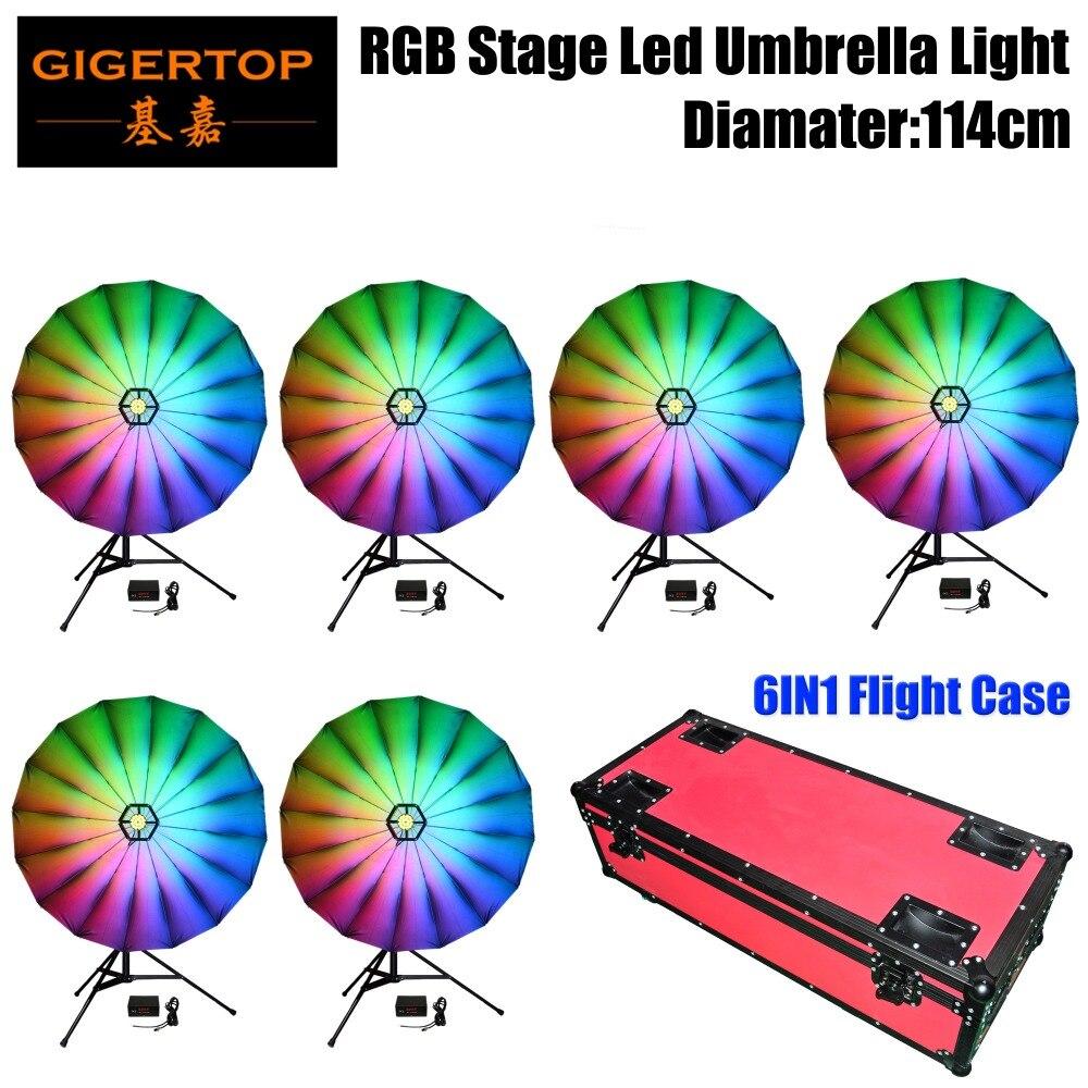 TIPTOP 6IN1 Flightcase Pack RGB Led Umbrella Light 114cm Wide Linear Dimmer/Strobe Effect Color Changing Indoor Decoration Led