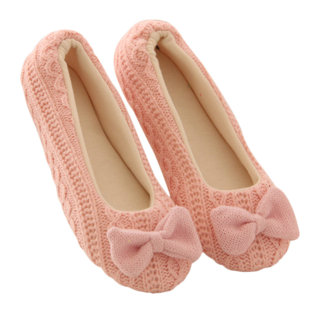 Null 2017 Hot Fashion Women Ladies Home Floor Soft Indoor Slippers Outsole Cotton-Padded Bowknot Female Cashmere Warm Yoga Shoes