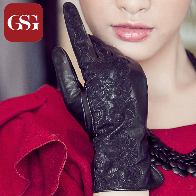Brand GSG Women Lace Floral TouchScreen Gloves Luxury Short Gloves for Ladies Genuine Leather Lambskin Gloves