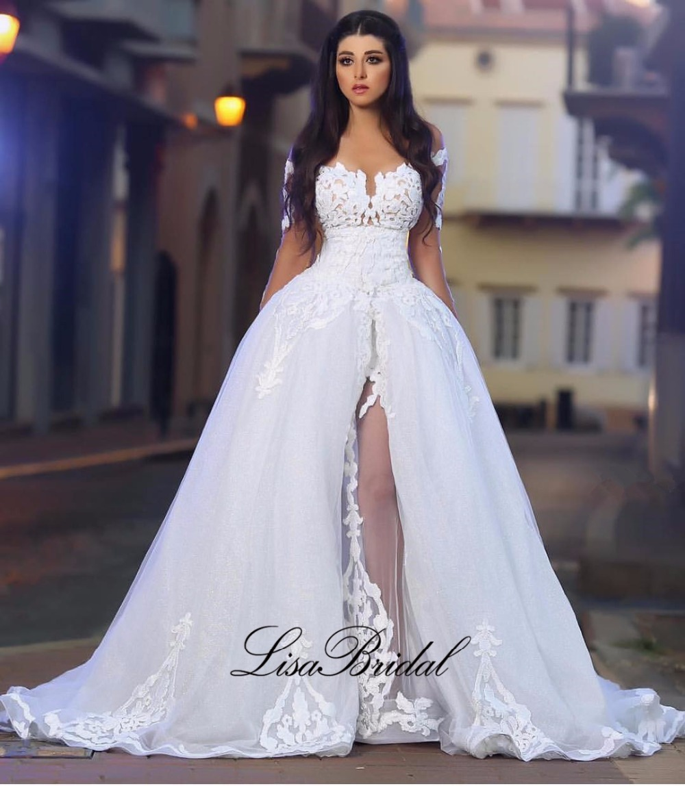 New Design White Wedding Dresses 2017 Sweetheart Long Sleeves A Line Chapel Train Applications Tulle Bridal Gowns 2016