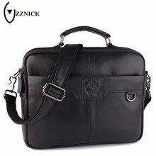 ZZNICK Business Genuine Leather Bag Casual Men Handbags Cowhide Men Crossbody Bag Men's Travel Bags Laptop Briefcase Bag for Man