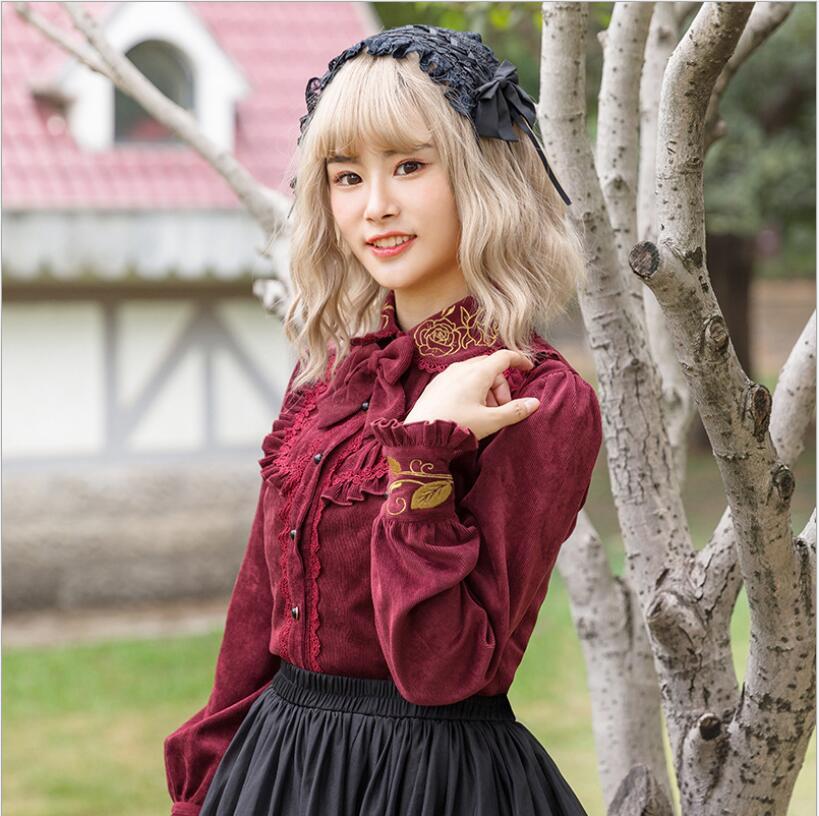 Automne et hiver nouvelle chemise Lolita à manches longues chemise épaisse Lolita princesse velours côtelé chemise chaude