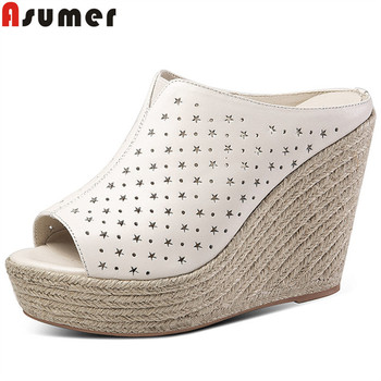 ASUMER fashion wedges sandals women peep toe slingback platform ladies shoes genuine leather shoes women sandals Hollowing out